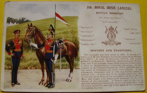 Antique 5th ROYAL IRISH LANCERS. Battle Honors Post Card