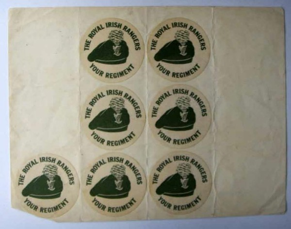Antique A sheet of Royal Irish Regiment stickers