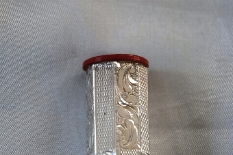 Antique Art Deco Silver & Early Plastic Perfume Bottle