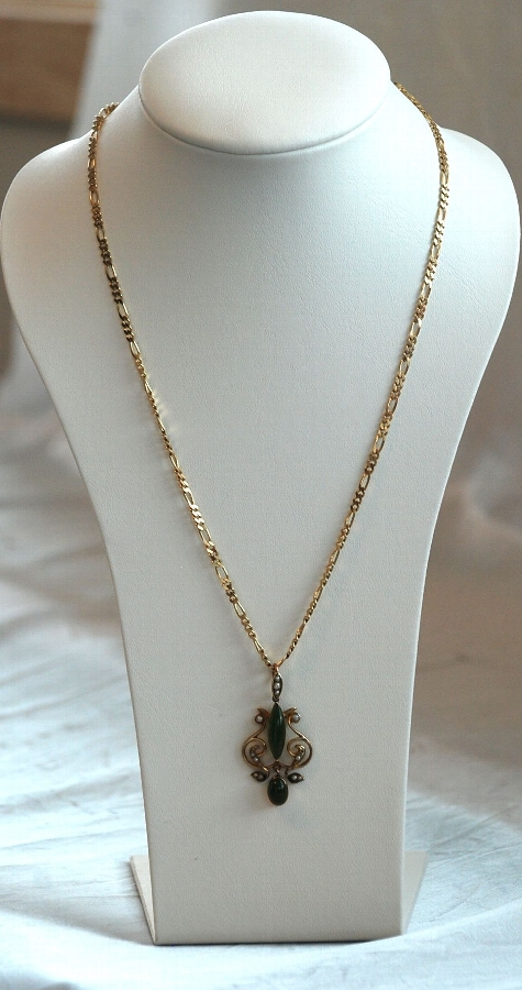 Late 19th Early 20th Century Gold Greenstone & Seed Pearl Pendant & Chain