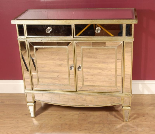 Art Deco Mirrored Commode Chest Cabinet Sideboard