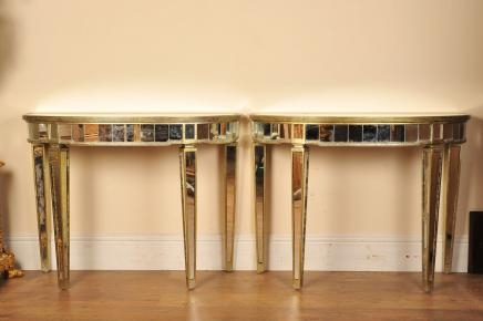 Pair Mirrored Console Tables Art Deco Half Moon