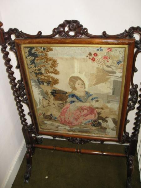 Antique VICTORIAN ROSEWOOD TAPESTRY SCREEN