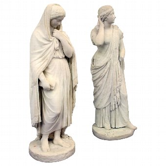 Antique Pair of Victorian Marble Figures