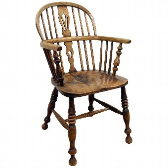 Antique Victorian Elm and Ash Windsor Chair