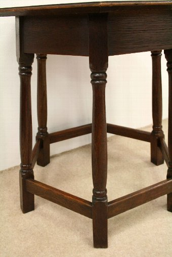 Antique Arts & Crafts Oak Hexagonal Occasional Table