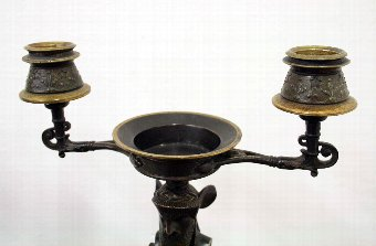 Antique Pair of Bronze and Gilt Candlesticks