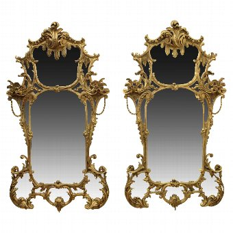 Antique Pair of Rococo Style Gilt Mirrors