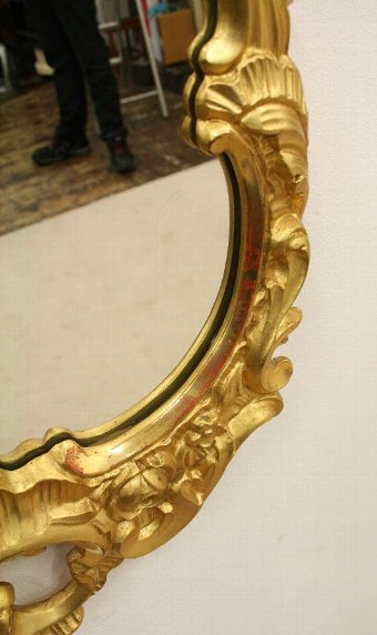 Antique Louis XVI Style Carved Gilded Wall Mirror
