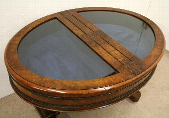 Antique Burr Walnut Display Table/Bijouterie Table