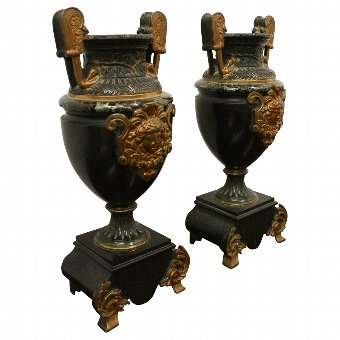 Antique Pair of Victorian Marble and Ormolu Urns