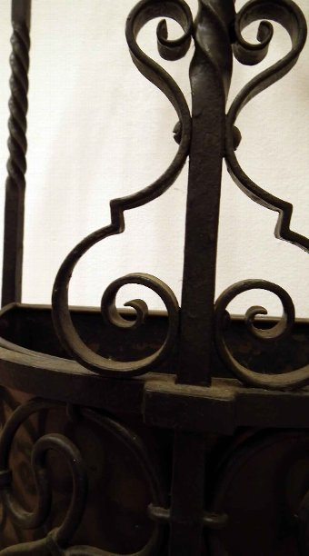 Antique Wrought Iron Demi Lune Stick Stand