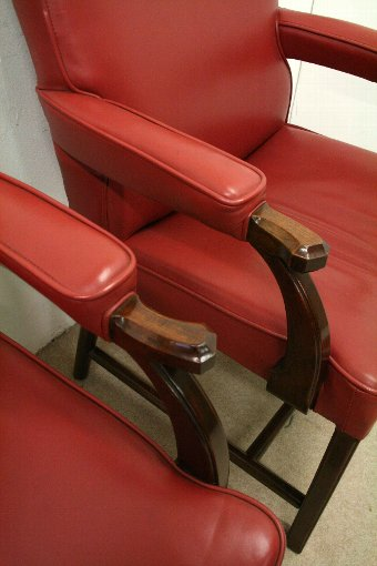 Antique Pair of Whytock & Reid Red Leather Easy Chairs