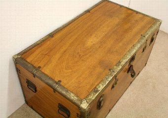 Antique Late Victorian Camphor Wood Travelling Trunk