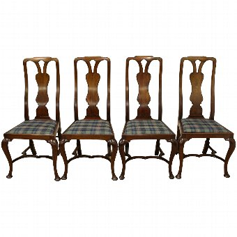 Antique Set of 4 Queen Anne Style Mahogany Chairs