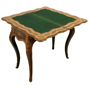 Antique Louis XV Style French Marquetry Card Table