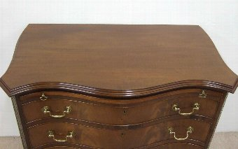 Antique George III Style Serpentine Mahogany Chest of Drawers