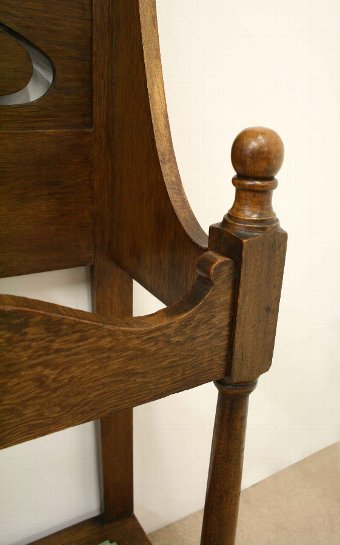 Antique Art Nouveau Oak Hall Stand