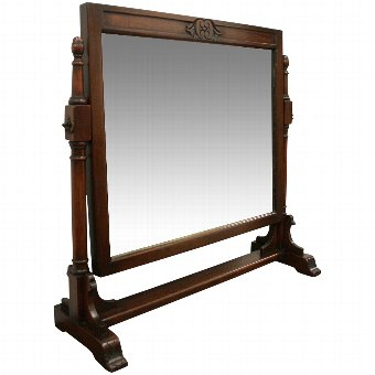 Antique Arts & Crafts Stained Pine Dressing Mirror