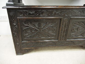 Antique Late Victorian Carved Oak Monks Bench with Heraldic Carving