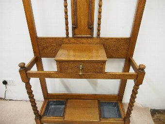 Antique Edwardian Golden Oak Hall Stand