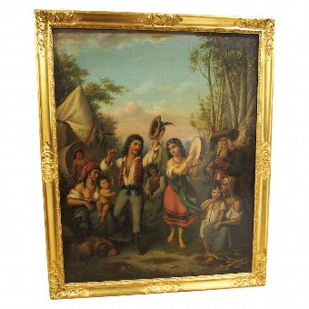 Antique Oil on Panel Painting 'Gypsies Dancing'