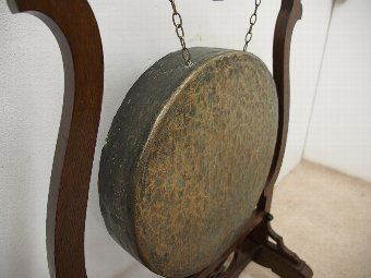 Antique Floor Standing Dinner Gong in Carved Oak