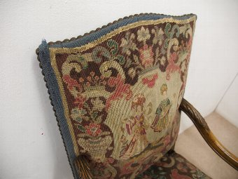 Antique Continental Easy Chair with Tapestry Covering