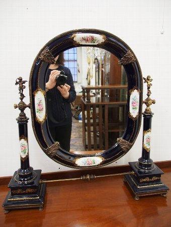 Antique Italian Painted Porcelain Table Top Mirror