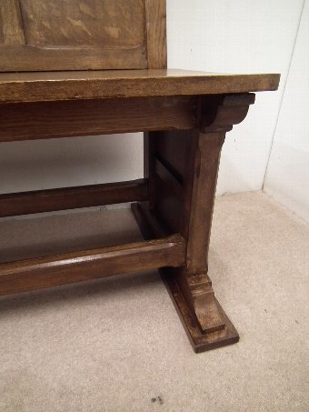 Antique Pair of Edwardian Arts and Crafts Figured Oak Benches