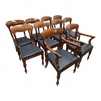 Antique Set of 10 William IV Spanish Mahogany Dining Chairs