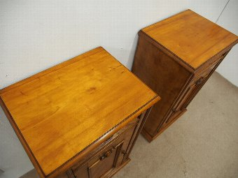 Antique Pair of Satin Birch Bedside Cabinets