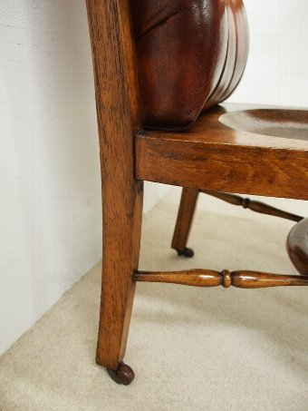 Antique Oak and Leather Button Back Library Chair