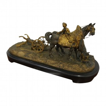 Antique Bronze of a Pair of Horses in a Field