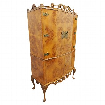 Antique Art Deco Burr Walnut Drinks Cabinet