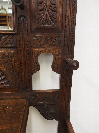 Antique Jacobean Revival Oak Hall Stand