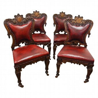 Antique Set of 4 Victorian Oak Chairs