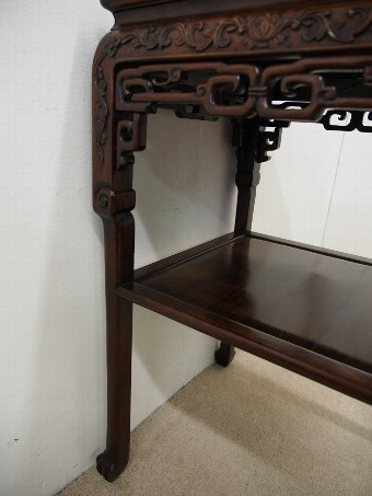 Antique Chinese Hardwood Stand with Marble Top