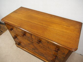 Antique Neat Victorian Walnut Chest of Drawers