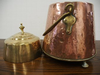 Antique Dutch Copper and Brass Pail or Bucket
