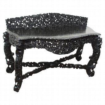 Antique Burmese Ebonised Side Table