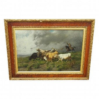 Antique Oil Painting of Driving Cattle