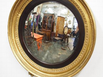 Antique Regency Carved and Gilded Convex Mirror