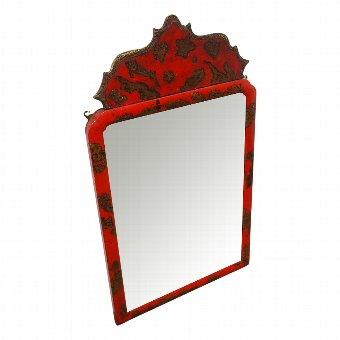 Antique Red Chinoiserie Mirror