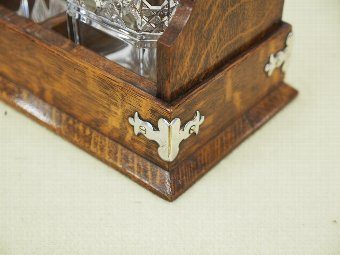 Antique Oak and EPNS Case Tantalus