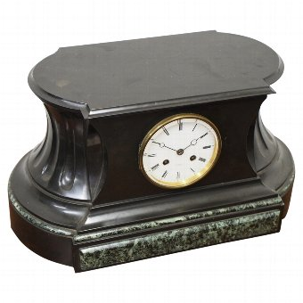 Antique Slate and Green Variegated Marble Mantle Clock