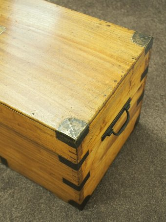 Antique  Victorian Camphor Wood and Brass Military Trunk
