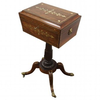 Antique Rare Regency Rosewood and Brass Inlaid Teapoy on Stand