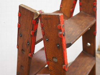 Antique Pitch Pine, Brass and Metal Folding Step Ladder