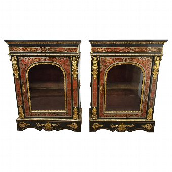 Antique Rare Pair of Napoleon III Style Boulle Cabinets